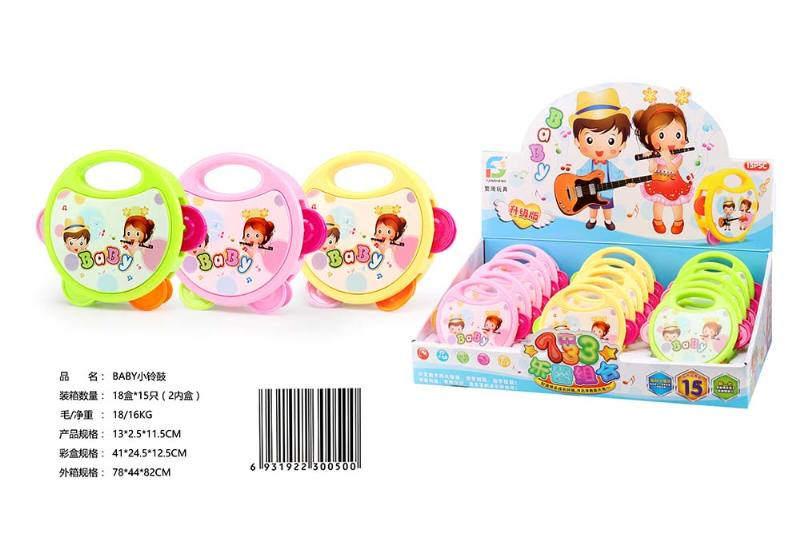 Musical instrument toy BABY small tambourine 15/display box No.TA247613