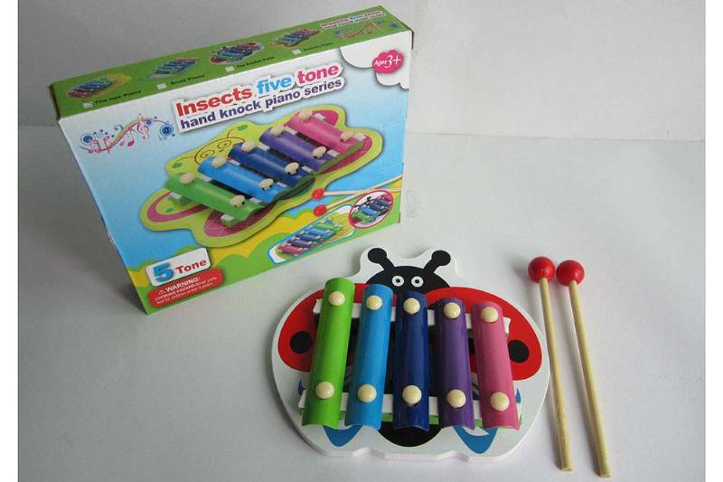 Musical instrument toy beetle 5 tone wooden xylophone No.TA238367