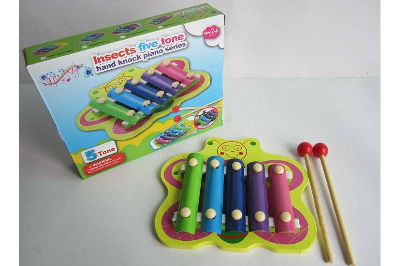 Musical instrument toy Butterfly 5 tone wooden xylophone No.TA238368