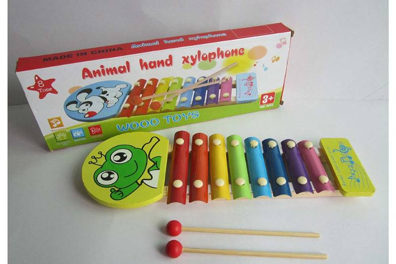 Musical instrument toy frog 8 tone wooden xylophone No.TA238373