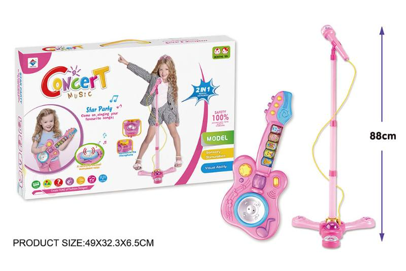 Musical Instrument Toys Small Electronic Guitar Single Microphone Combination Pink No.TA204702